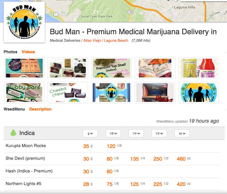 How to use weedmaps - bud man oc - Menu