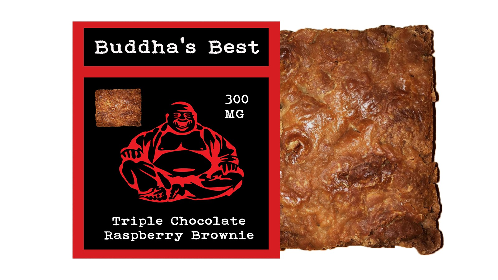 Triple Chocolate Raspberry Brownie – Buddha's Best Edibles (300mg ...